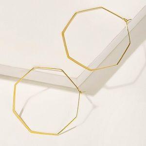 Gold Octagon Flat Wire Hook Back Earrings
